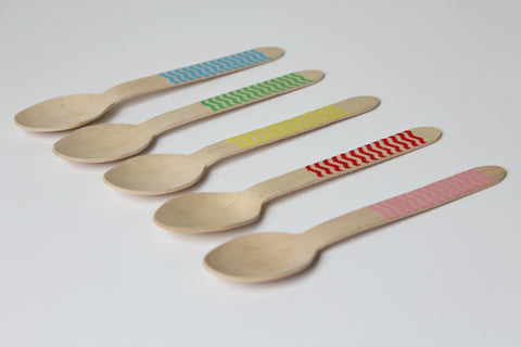 Yellow Chevron Wooden Spoons
