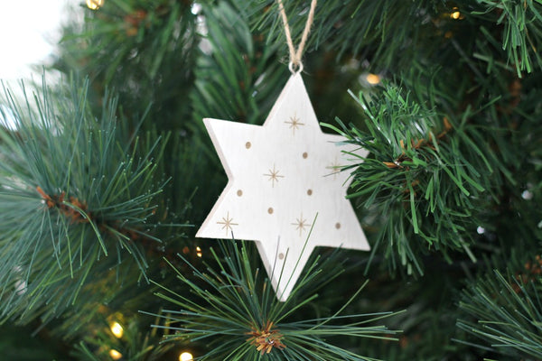 White Wooden Etched Star Hanging Decoration - Pop Roc Parties