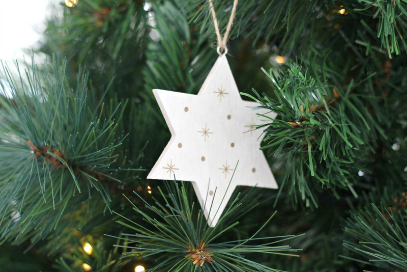 White Wooden Etched Star Hanging Decoration | Pop Roc Parties