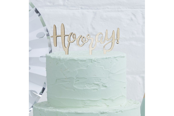 'Hooray' Wooden Cake Topper - Pop Roc Parties
