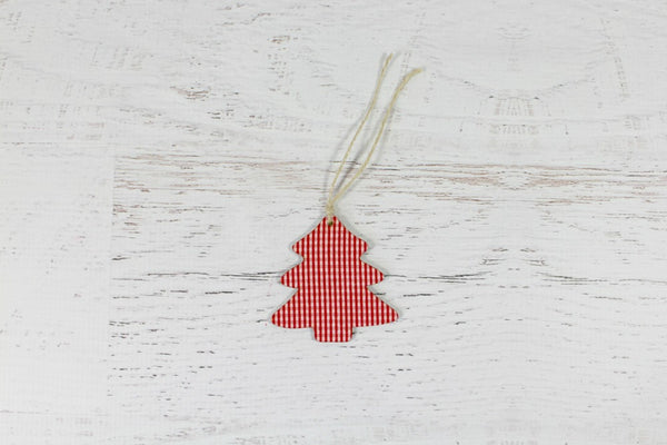 Wooden Gingham Christmas Tree Decorations - Pop Roc Parties