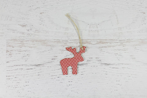 Wooden Gingham Christmas Reindeer Decorations