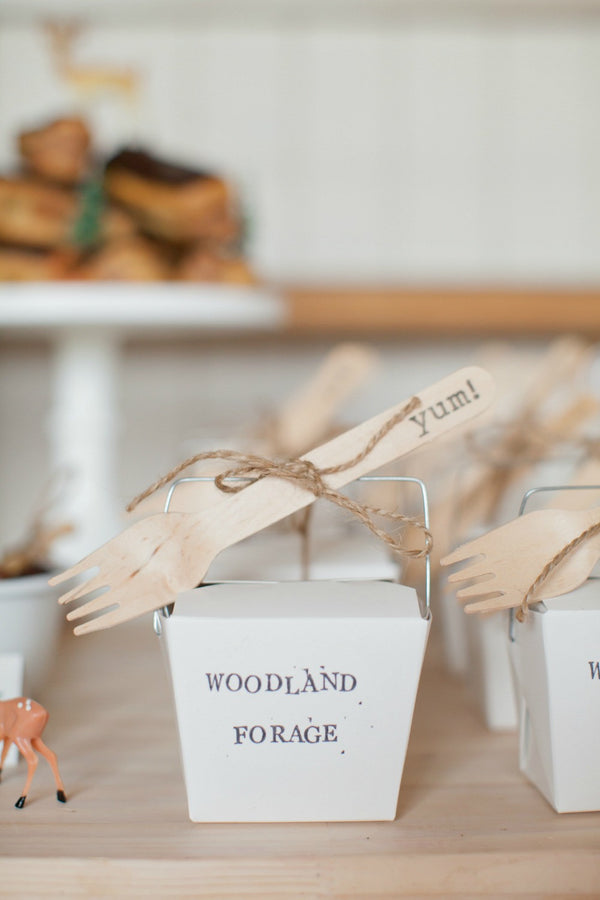 Eco Chic Stamped Wooden Forks - yum! - Pop Roc Parties