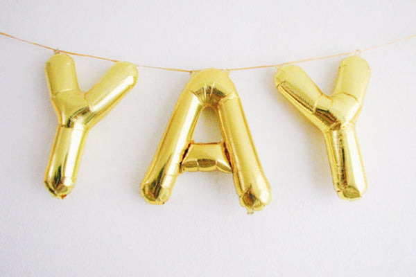 Metallic Mini Gold Foil Letter Balloons - Pop Roc Parties