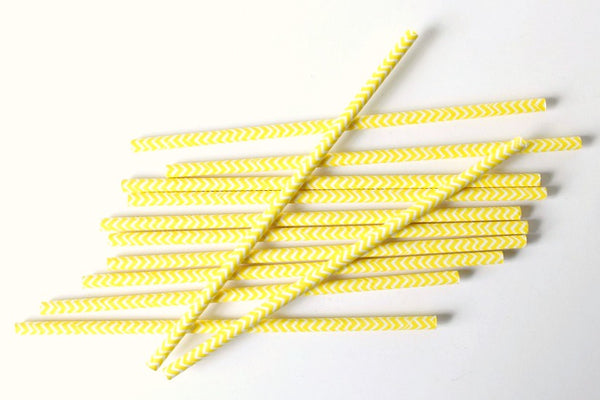 Yellow Chevron Paper Straws - Pop Roc Parties