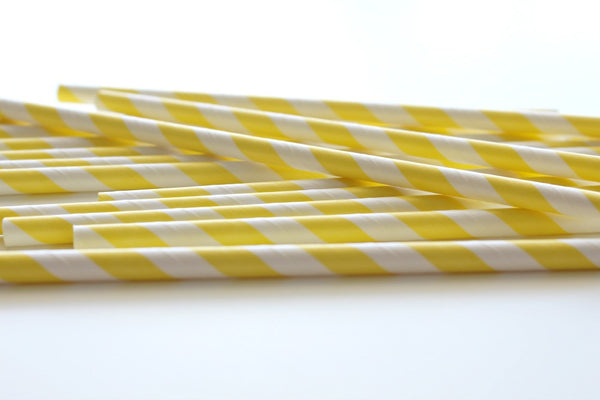 Yellow Stripe Paper Straws - Pop Roc Parties
