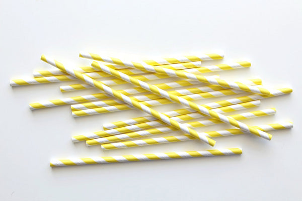 Yellow Stripe Paper Straws | Pop Roc Parties