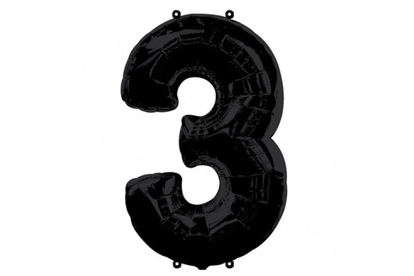 Black Foil Number '3' Balloon - 100cm - Pop Roc Parties