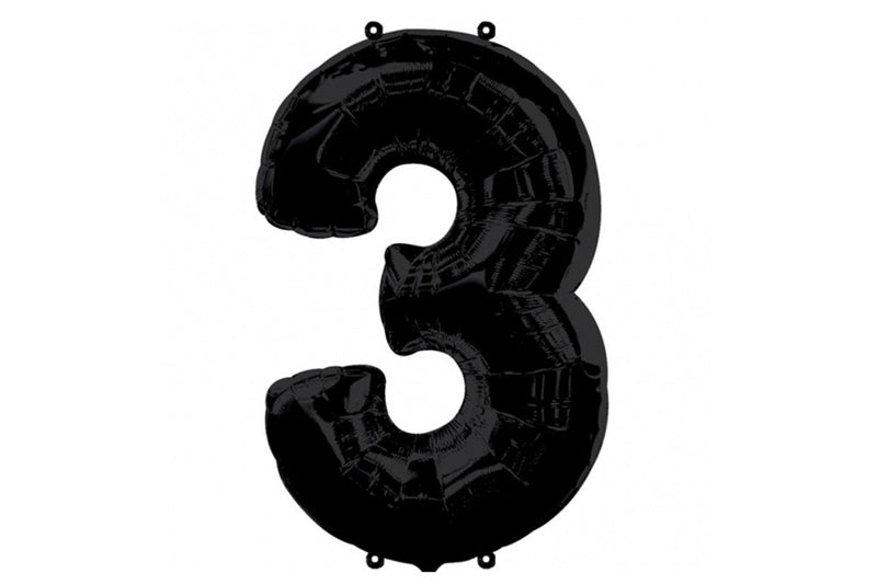 Black Foil Number '3' Balloon - 100cm | Pop Roc Parties