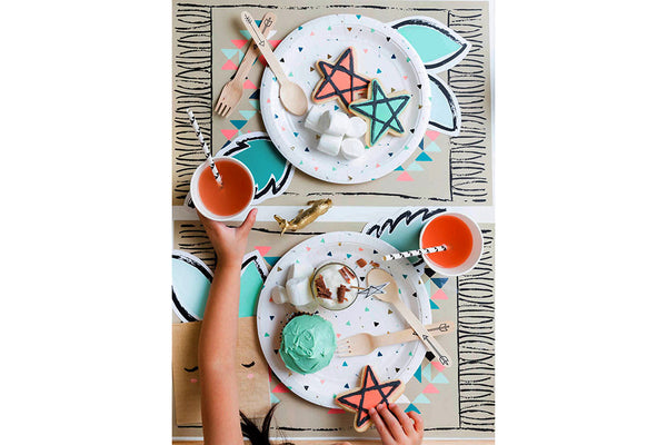 Modern Camp Triangle & Arrow Party Plates - Pop Roc Parties