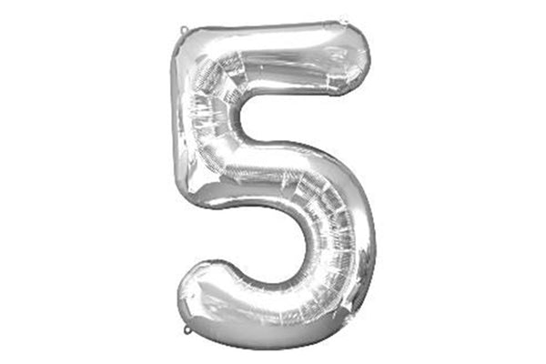 Metallic Silver Foil Number '5' Balloon - Pop Roc Parties