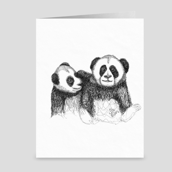 "Panda ""Sibling Set"" - Greeting Card"