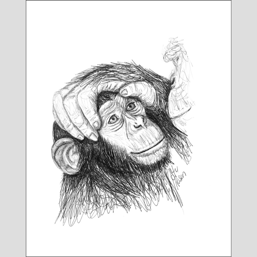 "Chimp ""Loving Hand"" - Giclee Print"
