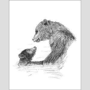 "Bear ""First Swim"" - Giclee Print"