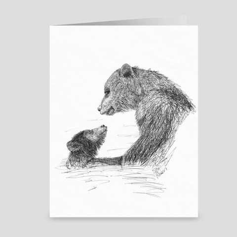 "Bear ""First Swim"" - Greeting Card"