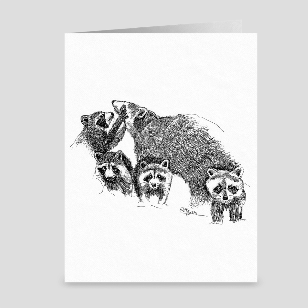 "Raccoon ""Hand Full"" - Greeting Card"