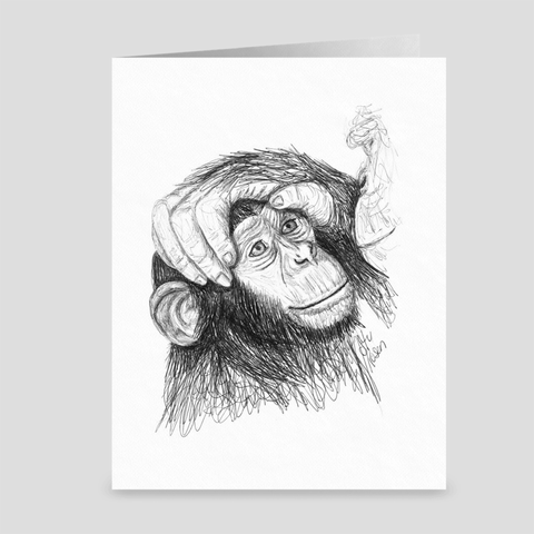 "Chimp ""Loving Hand"" - Greeting Card"