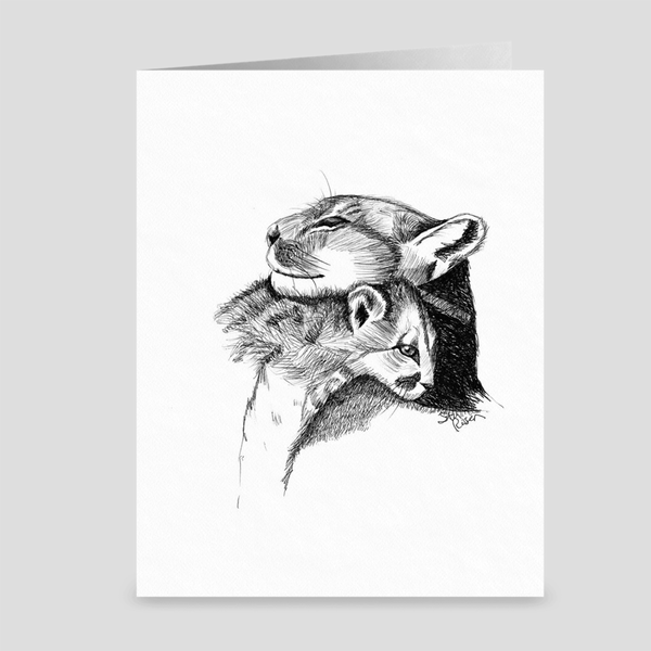 "Cougar ""Love's Embrace"" - Greeting Card"