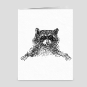 "Raccoon ""Scheming"" - Greeting Card"