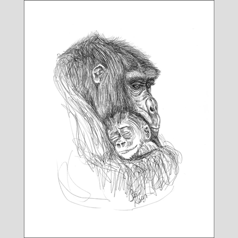 "Chimp ""Angel in the Arms"" - Giclee Print"