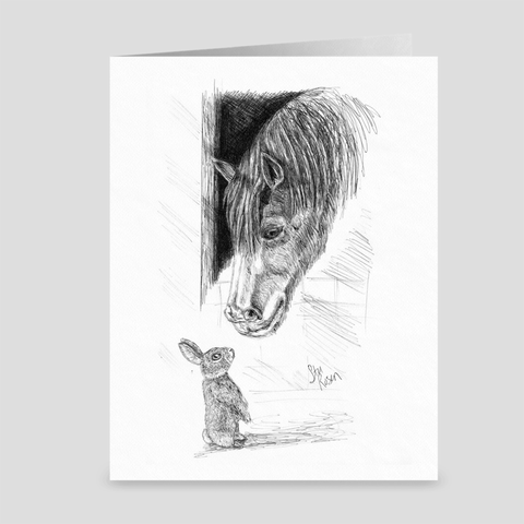 "Horse & Bunny ""Spring"" - Greeting Card"