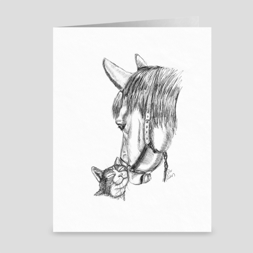"Horse & Cat ""Nudge"" - Greeting Card"