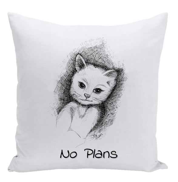 "Cat ""No Plans"" - Pillow"