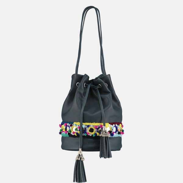 small tassled bucket bag in teal italian lamb nappa with silver metal tribal  tassles and  colourful pom pom mirrorwork hand embroidery