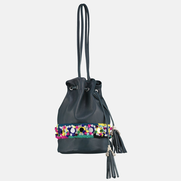 small tassled bucket bag in teal leather with silver metal tassles and  colourful pompom mirrorwork hand embroidery