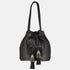 large black leather  shoulder bag, bucket style handbag with large silver metallic tribal jewellery  tassle detail