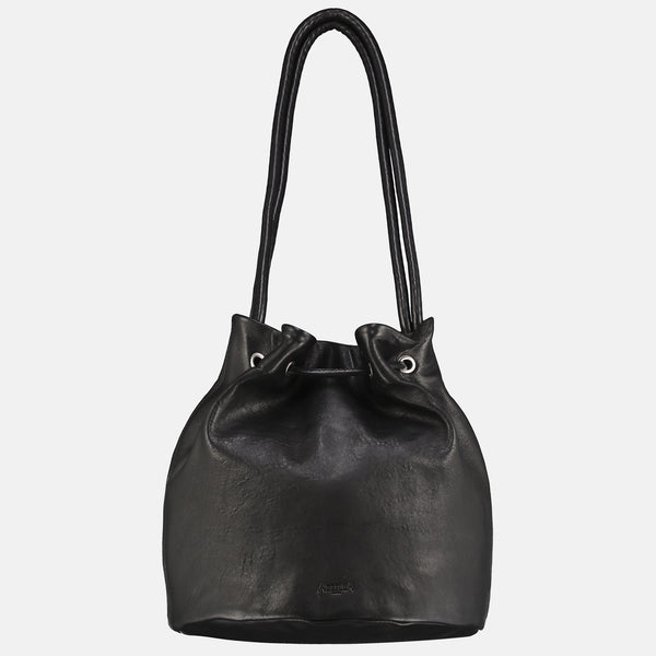 black italian veg tan leather shoulder bag rear view drawstring closure