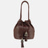 large brown handmade leather handbag . bucket bag style with metallic tassle detail . hand crafted, artisan
