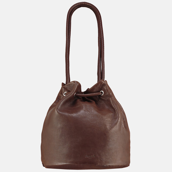 italian leather vegetable tanned rear view handbag shoulder bag bucket bag rear view