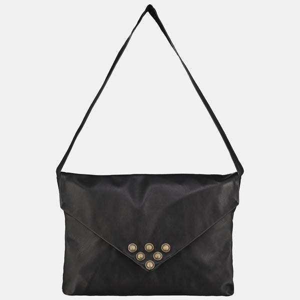 dark brown leather shoulder or cross body bag envelope style with metallic tribal studs detail