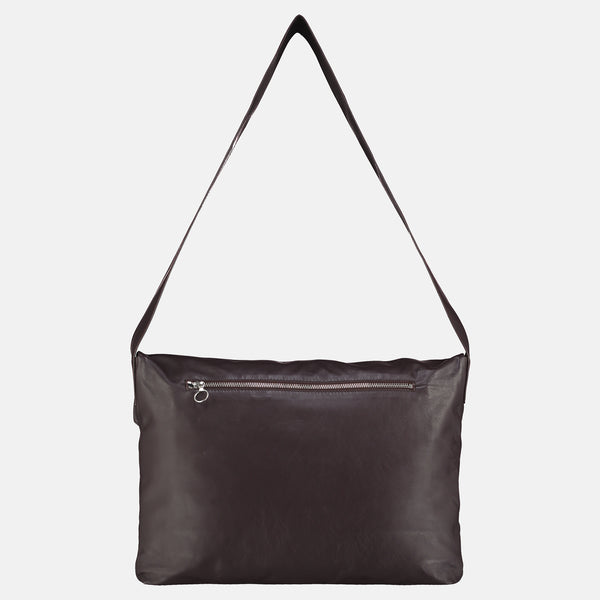 dark brown leather shoulder or cross body bag back zip pocket detail
