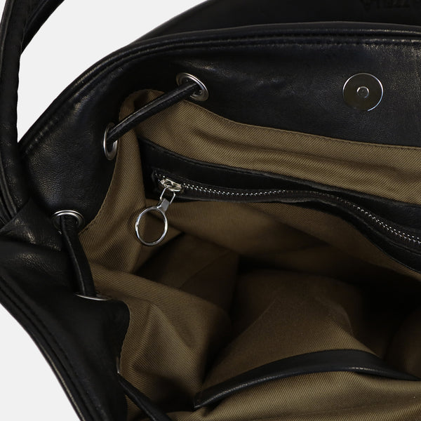 interior zip detail and olive cotton lining