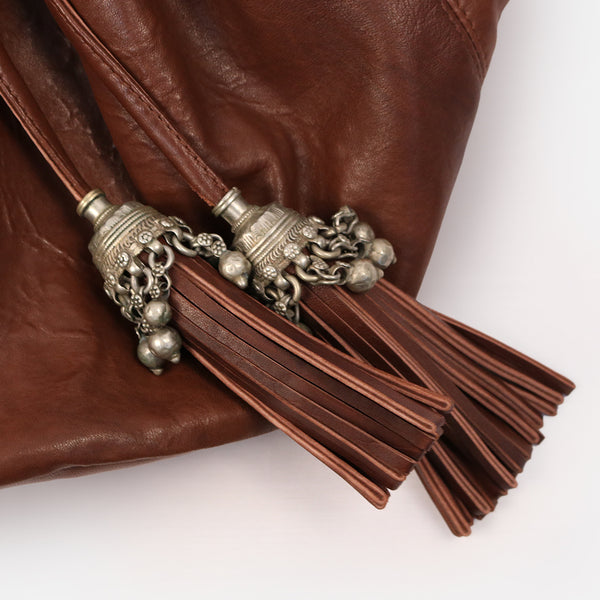 leather artisan  vintage tribal jewellery large silver metallic hair tassle detail banjara