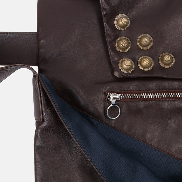 metallic stud detail dark brown leather envelope style shoulder bag  and back zip pocket