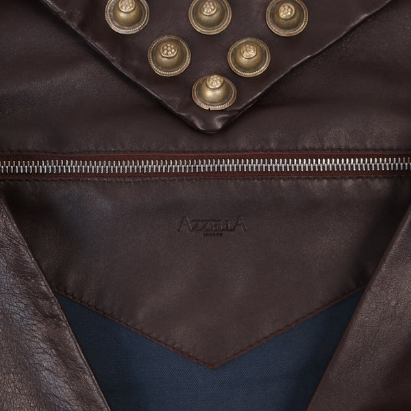 interior zip pocket detail dark brown lamb nappa  leather metallic tribal studs detail