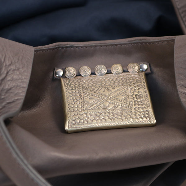 weekend bag grey leather vintage jewellery tribal pendant silver metallic detail
