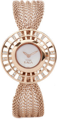Titan Raga Gold/White Analog Watch - 9931WM01 - Fragume.com