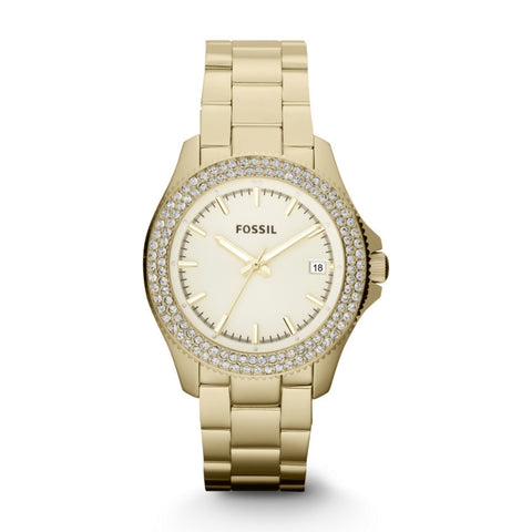 Fossil Retro Traveler Three-Hand Gold-Tone Stainless Steel Watch - AM4453 - Fragume.com