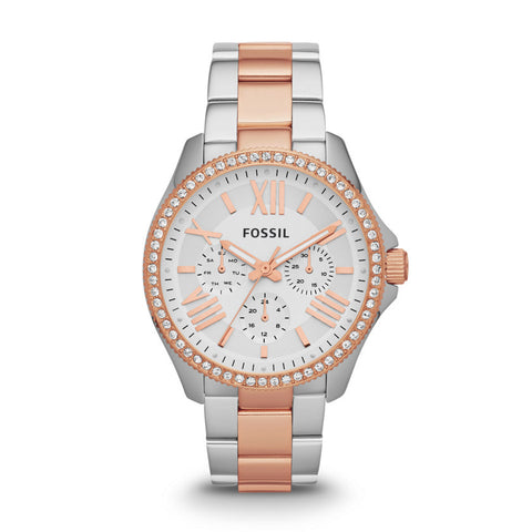 Fossil Cecile Chronograph Stainless Steel White Dial Watch - AM4496 - Fragume.com