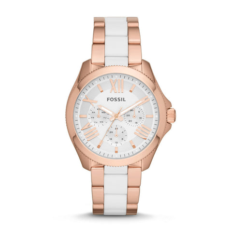 Fossil Cecile Multifunction Stainless Steel and Nylon  Rose Gold-Tone Watch - AM4546 - Fragume.com  - 1