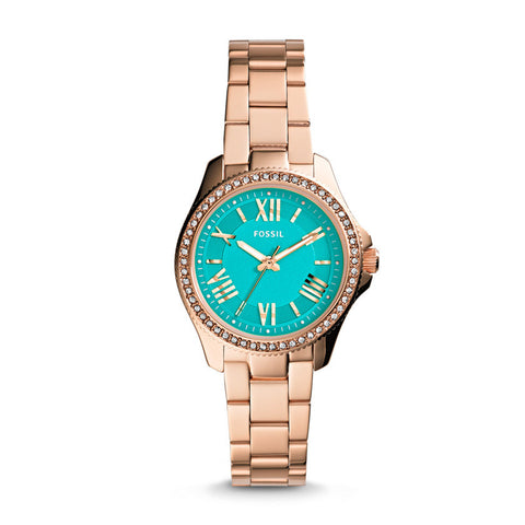 Fossil Cecile Analog Green Dial Rose Gold Tone Watch - AM4584 - Fragume.com