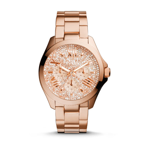 Fossil  Cecile Multifunction Stainless Steel Watch - Rose Gold-Tone with Pave Glitz Dial AM4604 - Fragume.com