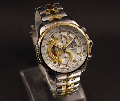 Casio Edifice Tachymeter Chronograph White Dial Men's Watch - EF-558SG-7A - Fragume.com