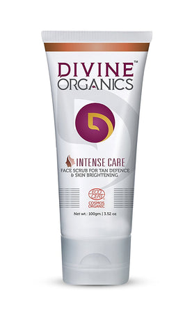 Divine Organics Intense Care Face Scrub For Tan Defence & Skin Brightening (100ml)