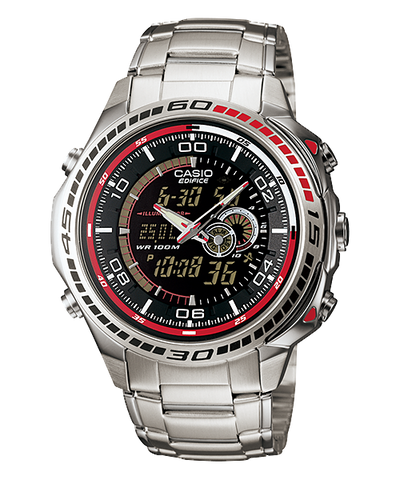 Casio Edifice Stopwatch Analog-Digital Black Dial Watch - EFA-121D-1AVDR (ED263) - Fragume.com