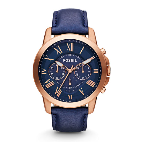 Fossil Grant Chronograph Navy Leather Watch - FS4835 - Fragume.com